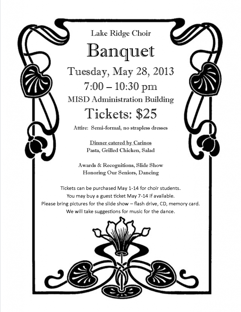 program notes choir banquet flyer